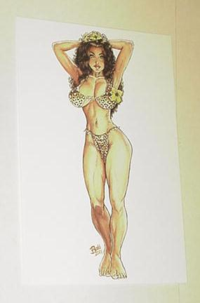 Cavewoman Postcard Print by Budd Root Flowers
