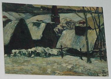 Breton Village In The Snow Trading Card Paul Gaugu