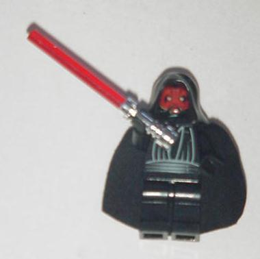 Darth Maul Lego w Remoavable Hood and Lightsaber