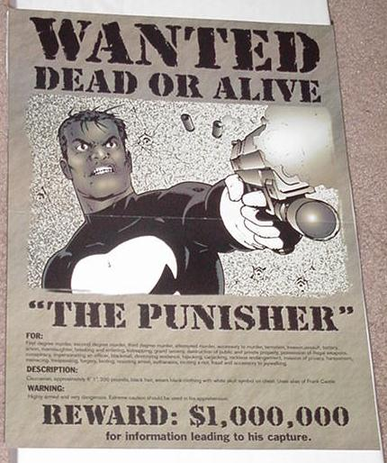 Punisher Wanted Poster Steve Dillon NEW